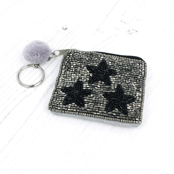 Metallic bead purse with triple black star design | Image 1