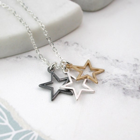 Silver plated triple star mixed finish necklace | Image 1