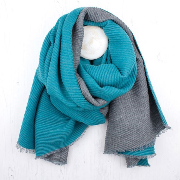 Turquoise and grey pleated reverisble scarf | Image 1