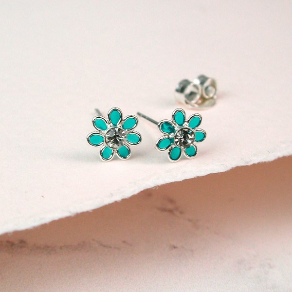 Silver and aqua enamel daisy crystal earrings | Image 1