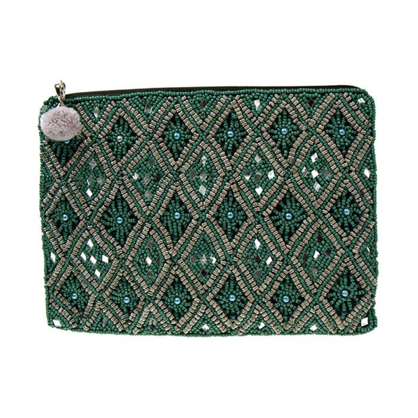 Turquoise beaded evening purse with mirror detail | Image 1
