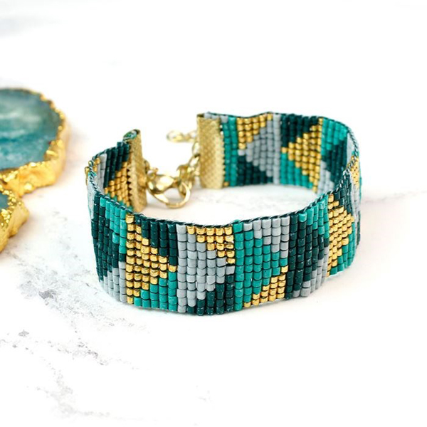 Turquoise and gold mix beaded woven bracelet | Image 1