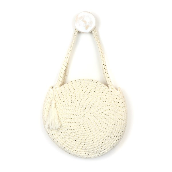 Round cotton rope bag in cream and gold | Image 1