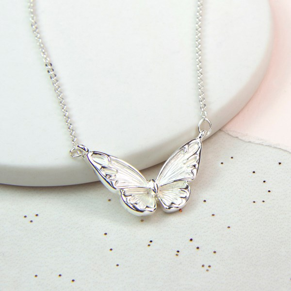 Silver plated butterfly necklace with white enamel wings | Image 1