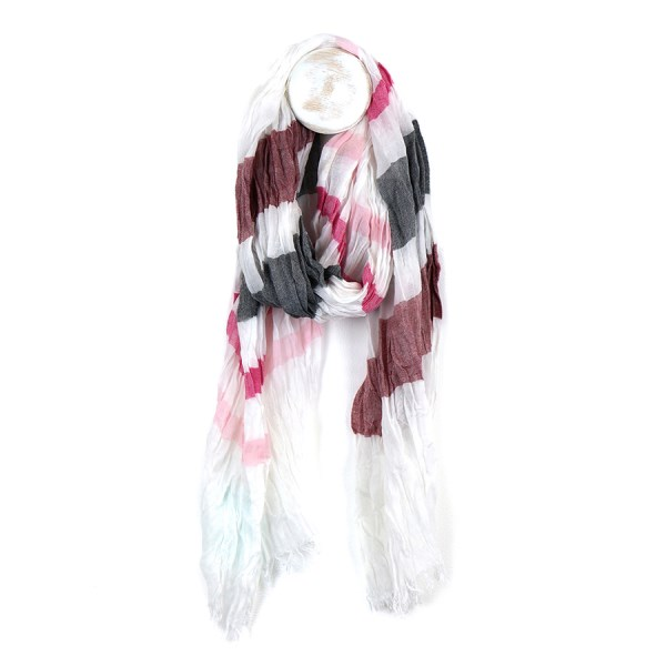 Fine white scarf with pink and grey stripe print | Image 1