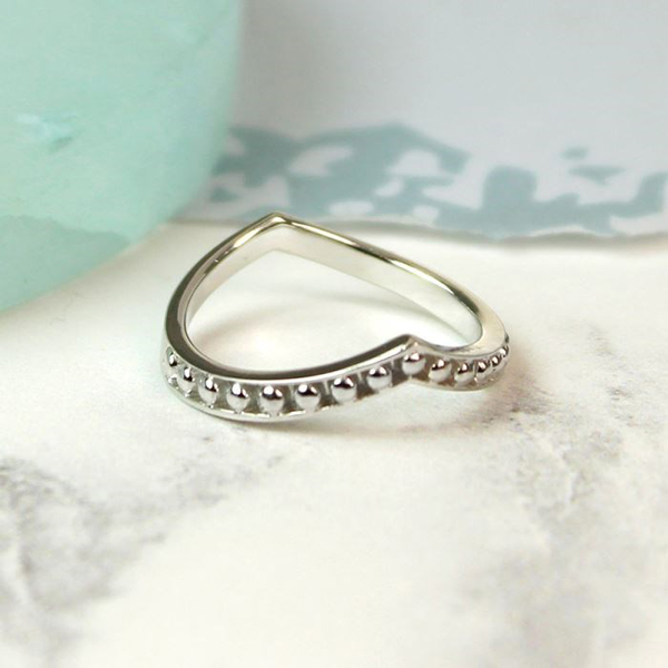 Sterling silver wishbone ring with silver bead detail | Image 1