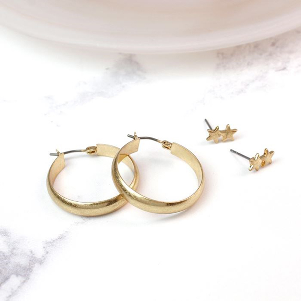 Gold plated star stud earring and hoop earring set | Image 1