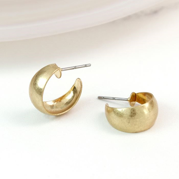 Gold plated crescent hoop earrings with worn finish | Image 1