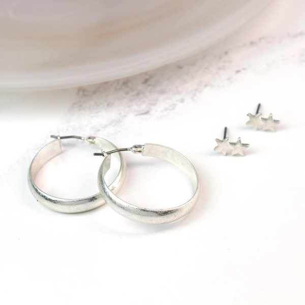 Silver plated star stud earring and hoop earring set | Image 1