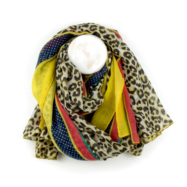 Animal print scarf with yellow, red and blue stripes | Image 1