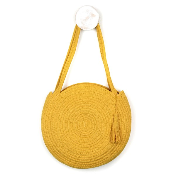 Round cotton rope bag in mustard yellow | Image 1