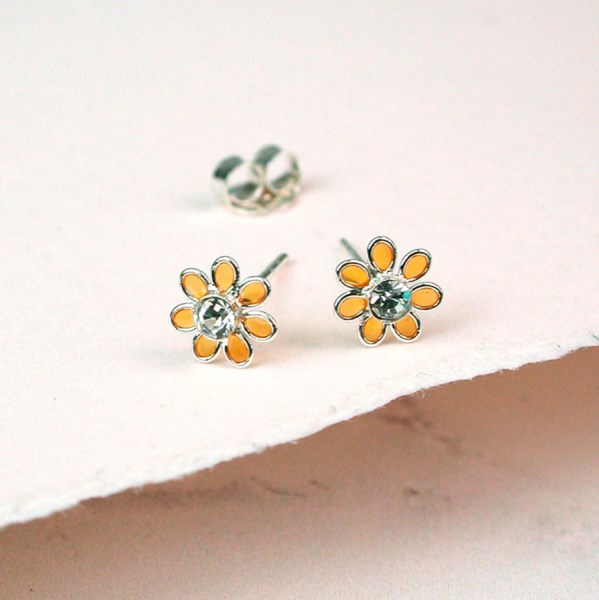 Sterling silver and golden enamel daisy crystal earrings | Image 1