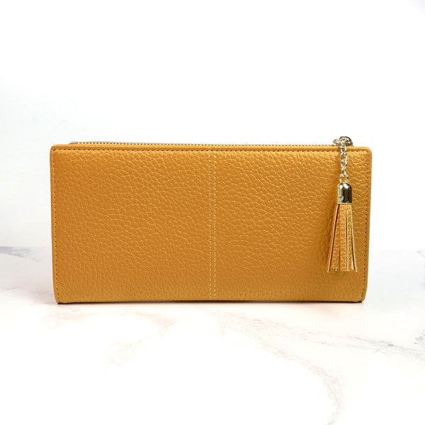 Large mustard faux leather zip purse with tassel | Image 1
