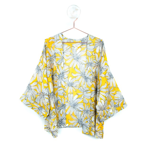 Yellow summer kimono with large flower print | Image 1
