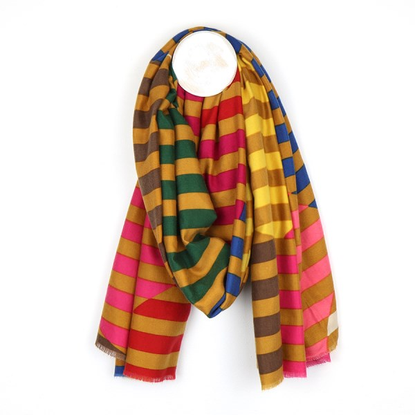 Bold striped circle scarf in a pink, mustard and bright yellow mix | Image 1