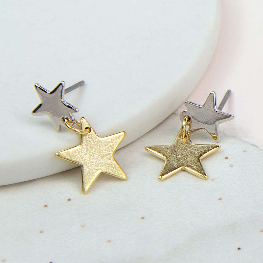 d5c20e32d Gold and silver plated double scratched star earrings | Image 1