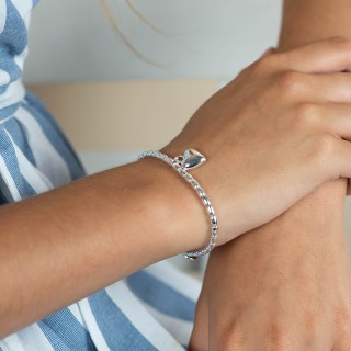 Silver plated bead and heart charm bracelet | Image 2