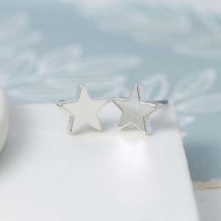 Silver Plated Star Stud Earrings | Image 4