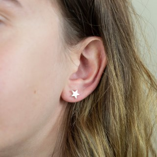 Silver Plated Star Stud Earrings | Image 2