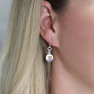 Silver plated disc and rose gold heart drop earrings | Image 2