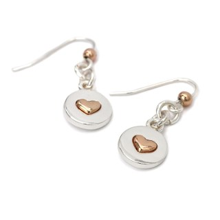 Silver plated disc and rose gold heart drop earrings | Image 3
