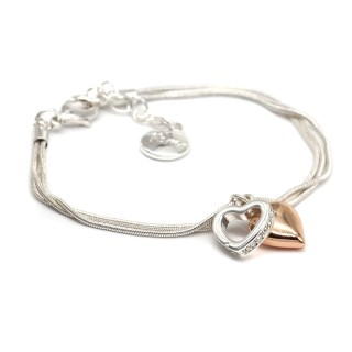 Rose gold and silver plated crystal heart bracelet | Image 3