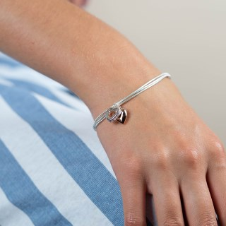 Rose gold and silver plated crystal heart bracelet | Image 2