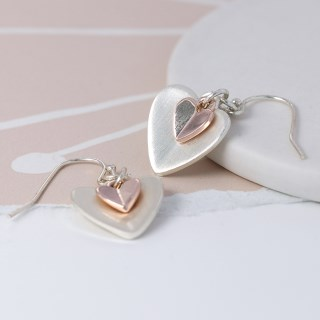 Silver and rose gold folded heart drop earrings | Image 3