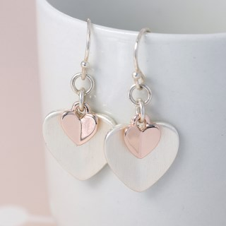 Silver and rose gold folded heart drop earrings | Image 4