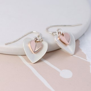 Silver and rose gold folded heart drop earrings | Image 2