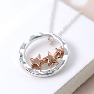 Silver circle and rose gold plated triple star necklace | Image 6
