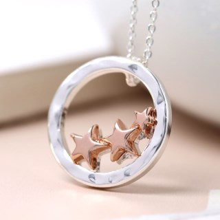 Silver circle and rose gold plated triple star necklace | Image 7