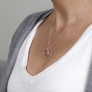 Silver circle and rose gold plated triple star necklace | Image 2