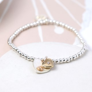 Silver and gold plated double heart charm bracelet | Image 2