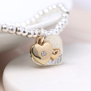 Silver and gold plated double heart charm bracelet | Image 3