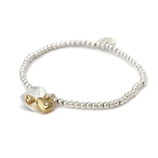 Silver and gold plated double heart charm bracelet | Image 4