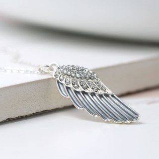 Silver plated enamel angel wing necklace with crystals | Image 4