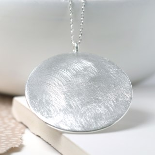 Silver plated large disc necklace with scratched finish | Image 3