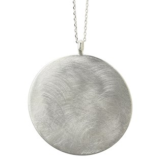 Silver plated large disc necklace with scratched finish | Image 4