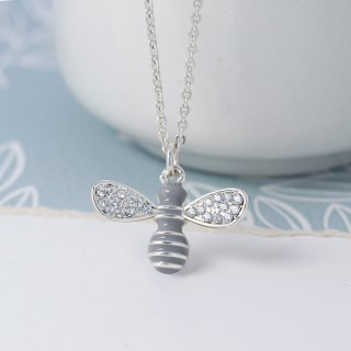 Silver plated enamel bee necklace with crystal wings | Image 4