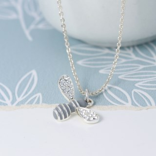 Silver plated enamel bee necklace with crystal wings | Image 3