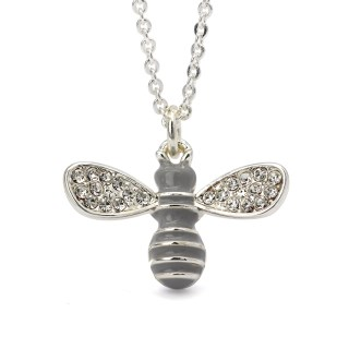Silver plated enamel bee necklace with crystal wings | Image 5