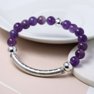 Semi-precious Amethyst and silver plated bead bracelet | Image 3