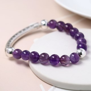 Semi-precious Amethyst and silver plated bead bracelet | Image 2