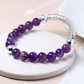 Semi-precious Amethyst and silver plated bead bracelet | Image 4