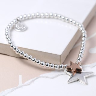 Double star charm bracelet in silver and rose gold  | Image 3