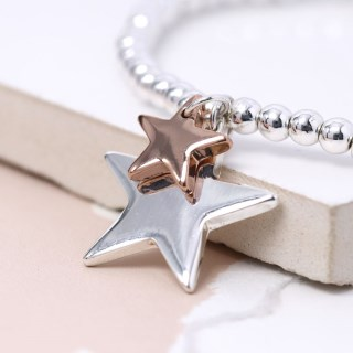 Double star charm bracelet in silver and rose gold  | Image 4