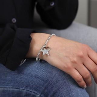 Double star charm bracelet in silver and rose gold  | Image 5