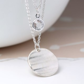Silver plated wave disc and crystal layered necklace | Image 2