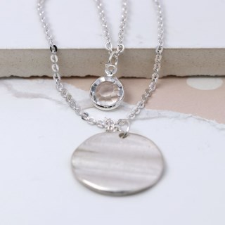 Silver plated wave disc and crystal layered necklace | Image 3